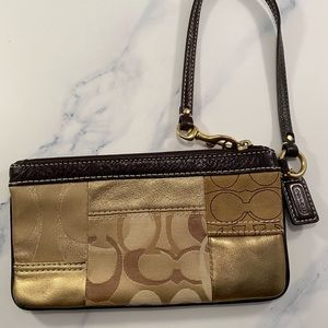 Coach Brown/Gold Leather Suede Wristlet